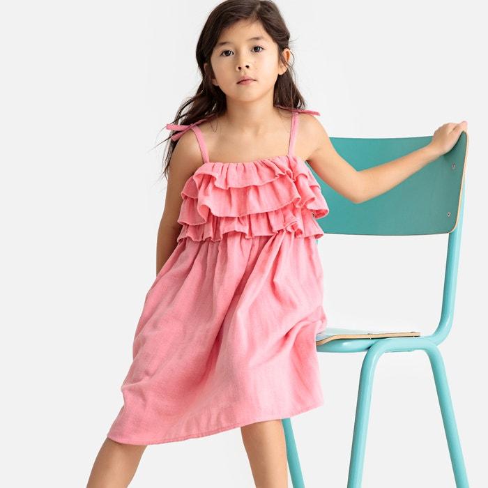 2e7de83d2436 Vestido de tirantes finos estampado, 3-12 años rosa La Redoute Collections  | La Redoute