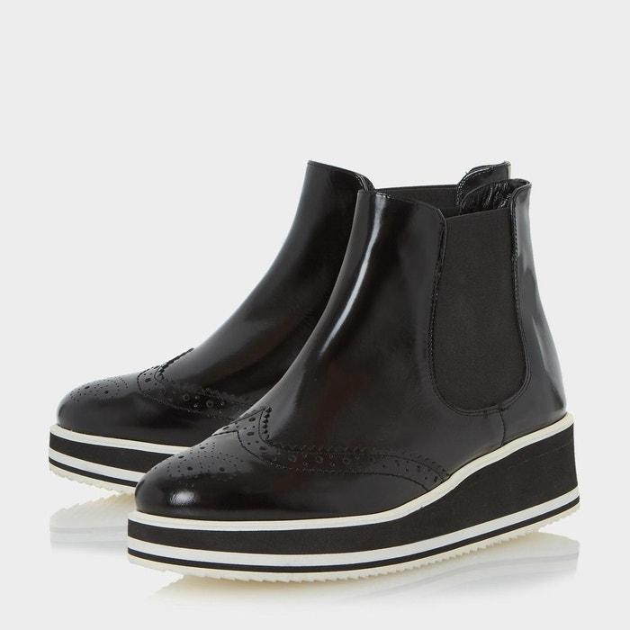 Bottines chelsea à plateforme et détails style richelieu - patrol noir cuir Dune Black