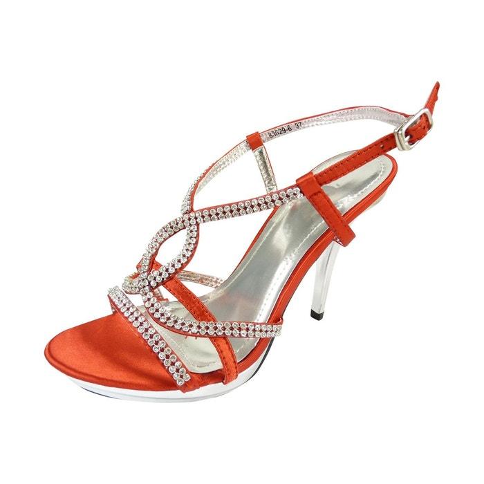 Chaussures de mariage ouvertes à f Rouge J2FPdA