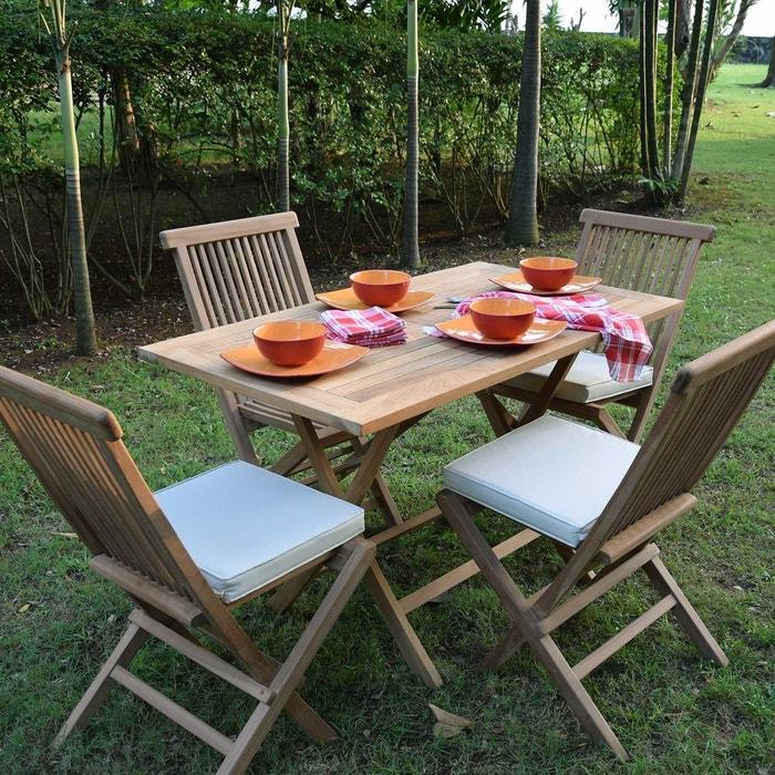 Salon de jardin en teck ecograde makassar, table pliante avec 4 ...
