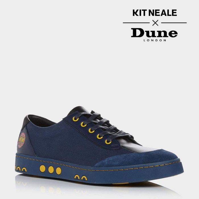 Baskets multi-matières bleu marine à lacets kit neale - tetra bleu marine toile Dune London
