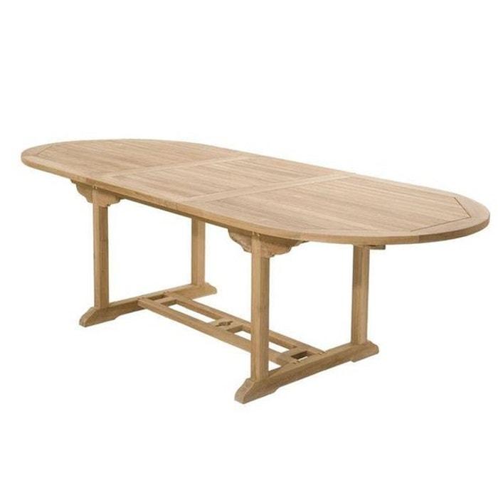 Table de jardin extensible ovale en bois de teck massif 180/240x100cm  SUMMER 10 personnes
