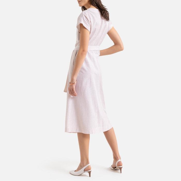 Robe longue évasée, rayée, manches courtes rayé rose Anne