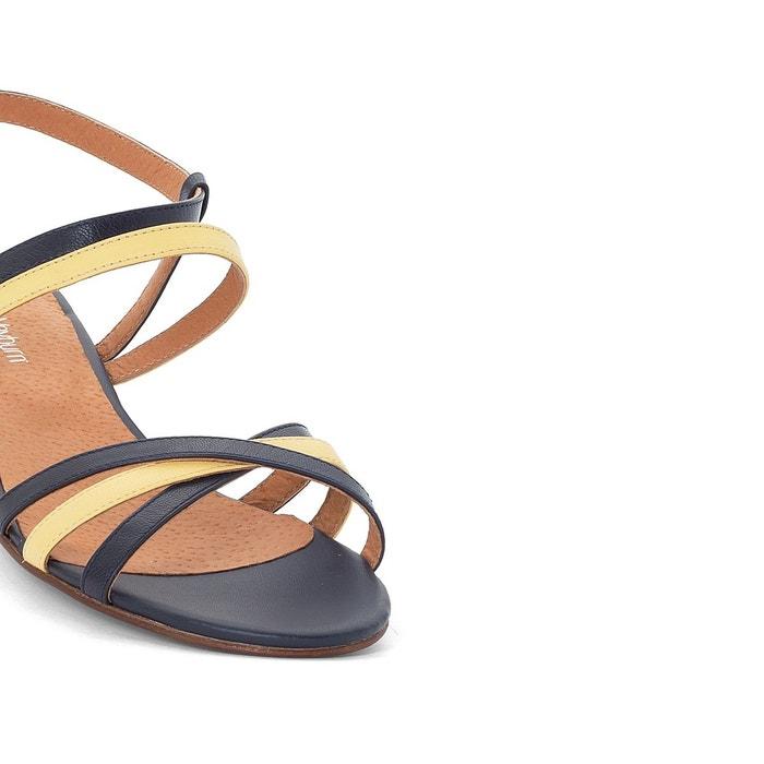 Sandales cuir bicolores à talon moyen Anne Weyburn