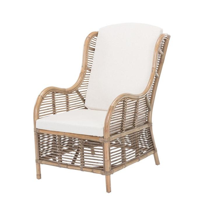 Fauteuil en rotin vintage brig gris beige rotin design la redoute - La redoute fauteuil rotin ...