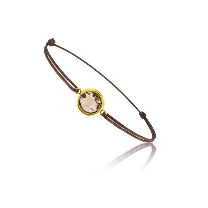 Bracelet cordon marron et quartz fumé Acheter Pas Cher Faux m7iaGjRROw