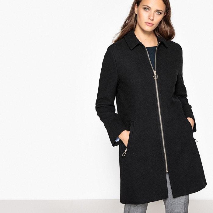 Manteau zippé en drap de laine La Redoute Collections
