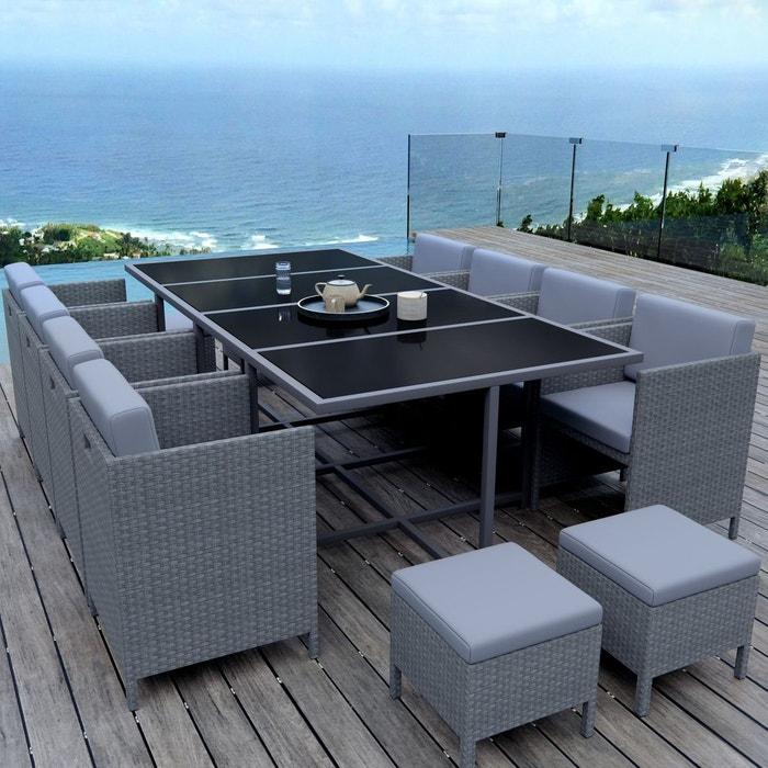 Munga 12 places ensemble encastrable salon table de jardin r sine tress e gris gris clair - Salon jardin resine gris clair ...