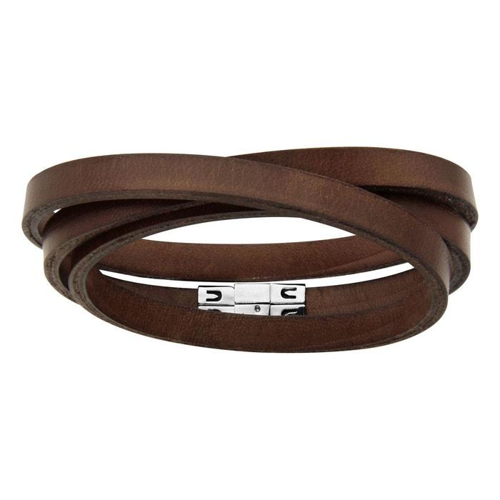 Bracelet homme 58,5 cm lacet 3 tours cuir marron acier inoxydable couleur unique So Chic Bijoux | La Redoute