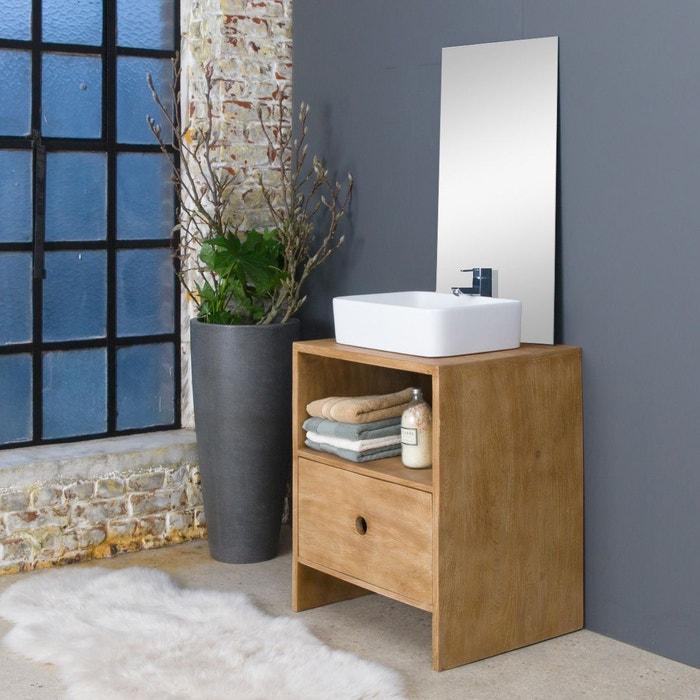Meuble salle de bain manguier patiné 1 niche, 1 tiroirs - petit ...
