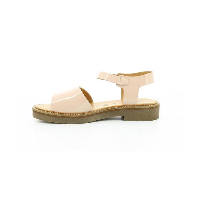 Sandales cuir femme europea vernis beige Kickers