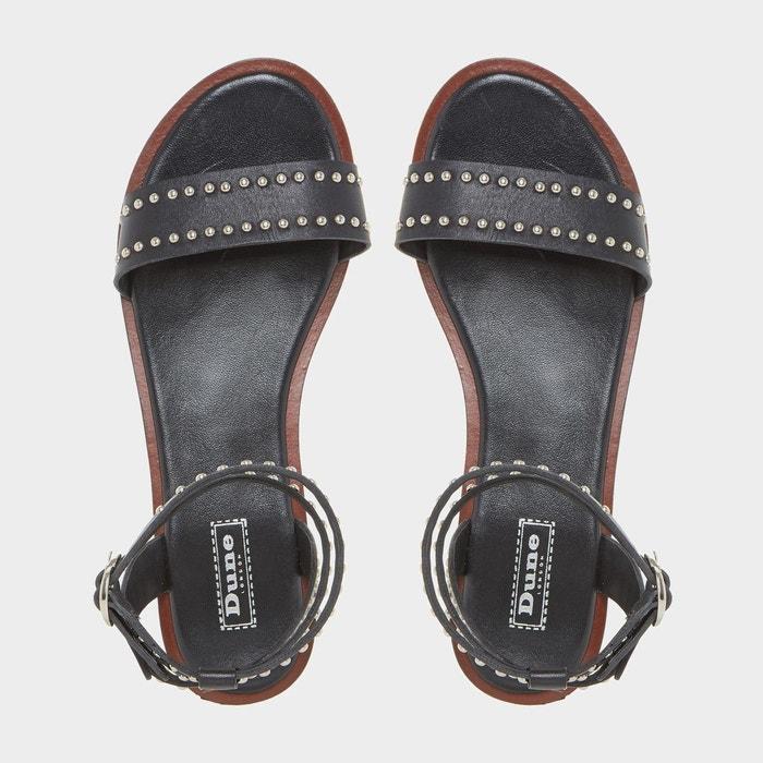 Sandales plates cloutées en deux parties - lagoma noir cuir Dune London