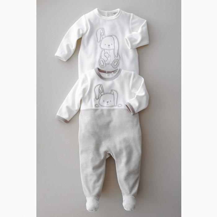 afbeelding Fluwelen pyjama met voetjes 0 mnd - 3 jr (set van 2) La Redoute Collections