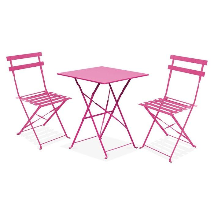 Table bistrot de jardin et 2 chaises pliantes rome oviala la redoute - Table de jardin bistrot ...