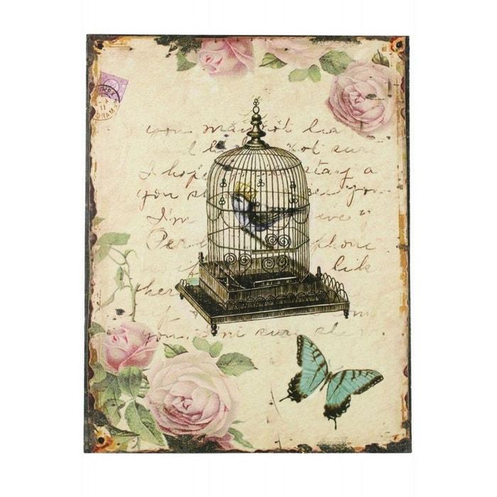 Tableau vertical cage a oiseaux avec roses 35x45cm couleur for Autrefois decoration
