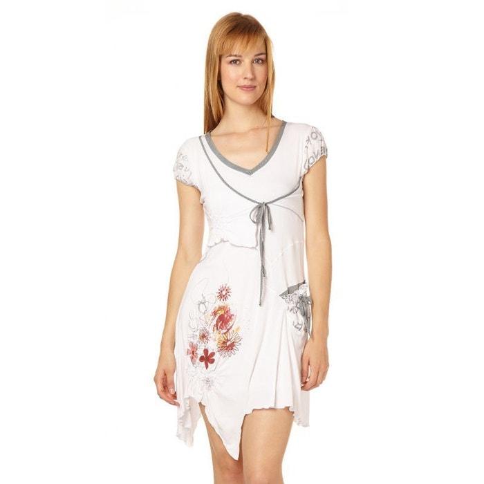 b41a3cabd96 Robe manches courtes col v liana blanc Cimalp