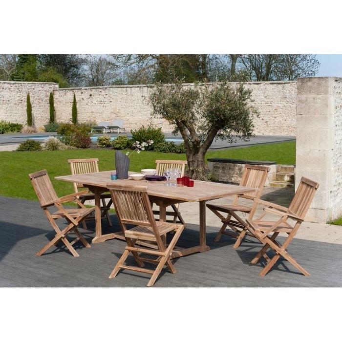 Salon jardin teck table 180x100cm 4 chaises 2 faut. summer table ...