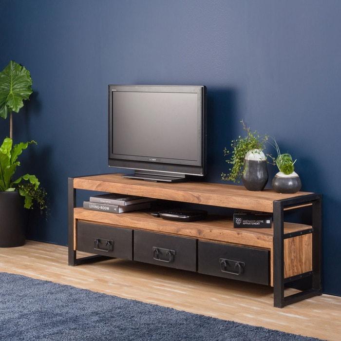 meuble tv industriel 3 tiroirs en bois d 39 acacia fonc ra9a metal noir made in meubles la redoute. Black Bedroom Furniture Sets. Home Design Ideas