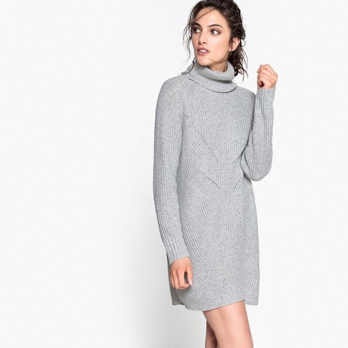 e0b537282e7fd Robe pull col roulé, laine et alpaga gris chiné La Redoute Collections   La  Redoute