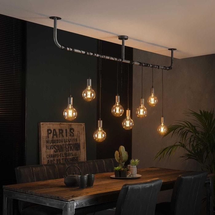 suspension industrielle esprit loft 8 lampes réglables