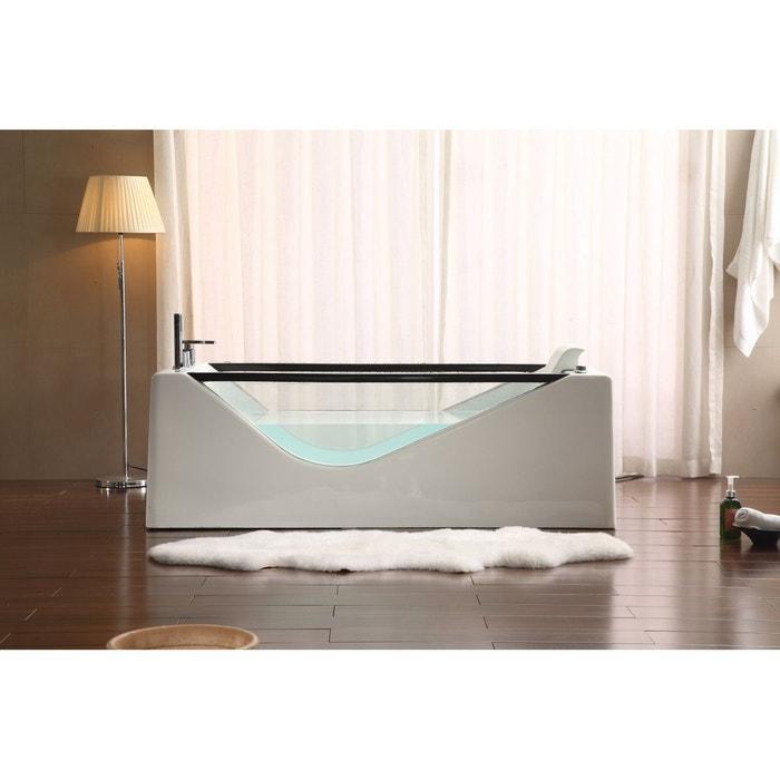 Tremezzo baignoire baln o 10 jets de massage blanc for Taille baignoire balneo
