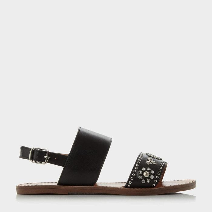 Sandales plates ornées de strass avec bride arrière cloutée - luma Dune London