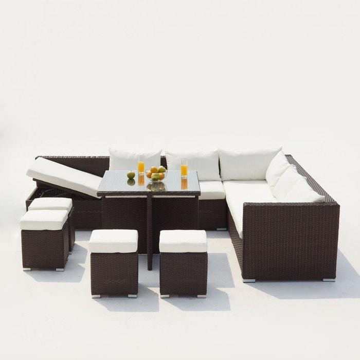 Salon de jardin résine tressée 10 places, fidji gris clair Concept ...