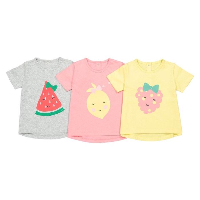 f0e6f0b868ff9 Lot de 3 t-shirts imprimé devant 1 mois-4 ans rose + jaune + gris La  Redoute Collections