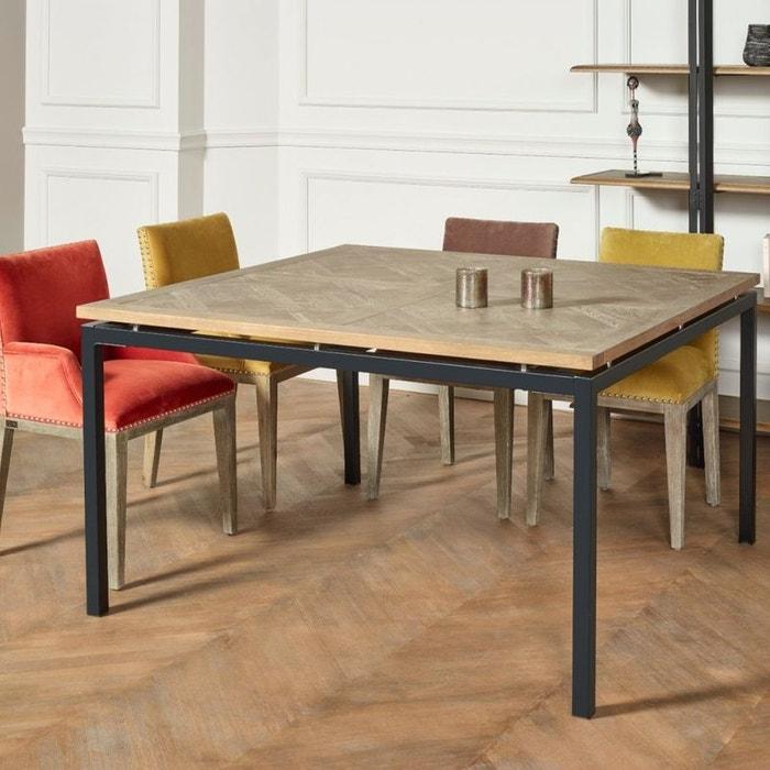 Table Carree Chene Massif Pieds Metal Zazie