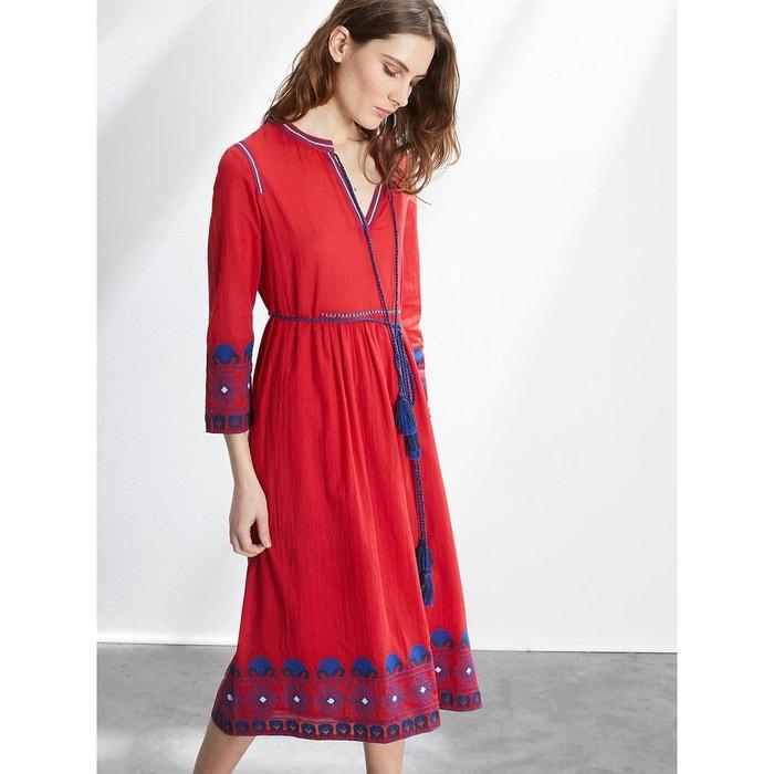 robe brod e femme rouge moyen uni cyrillus la redoute. Black Bedroom Furniture Sets. Home Design Ideas