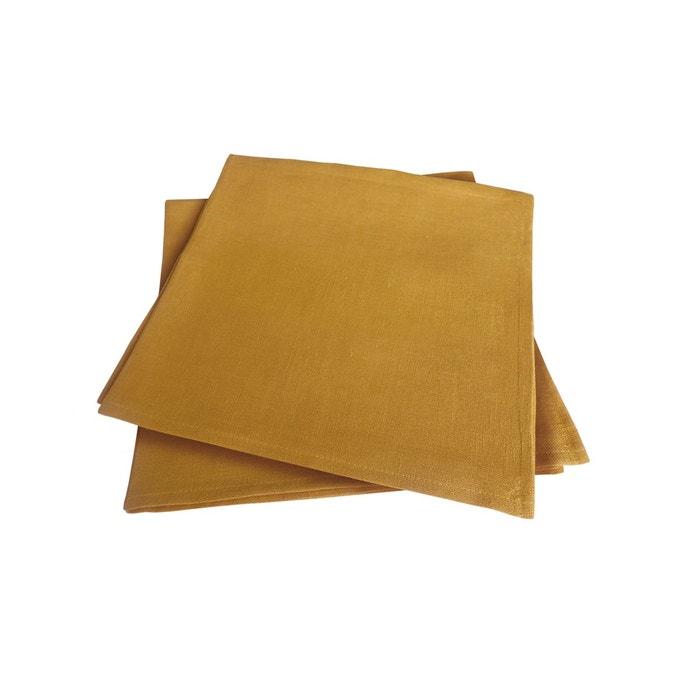Lot de 2 serviettes de table safran lin trait d perlant - Serviette de table brodee ...