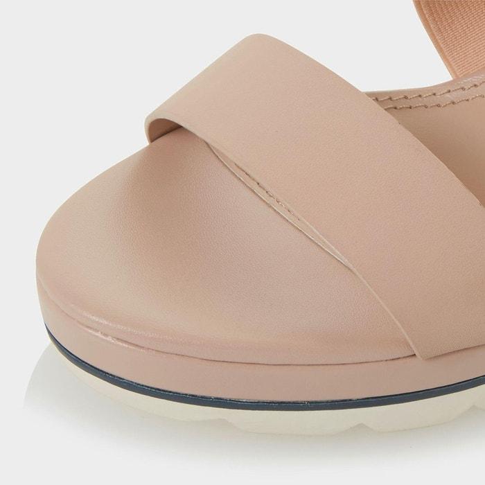 Sandales compensées à brides croisées et semelle extérieure blanche - kalifornia Dune London
