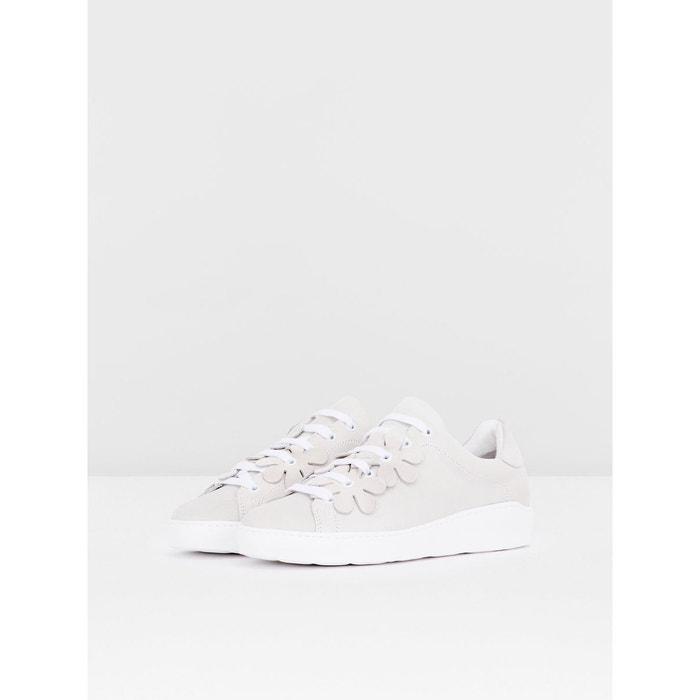 Baskets finitions à fleurs Bianco