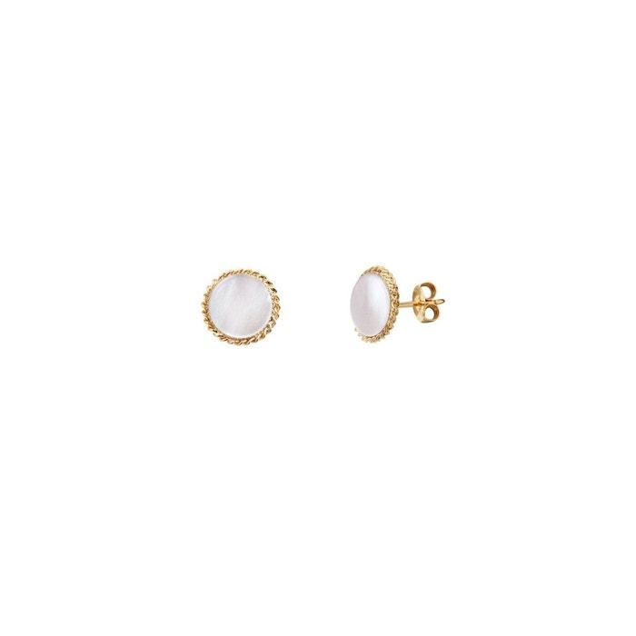 Boucles d'oreilles puces dorées new nacre blanche lady blanc Caroline Najman   La Redoute Le Plus Récent En Ligne f0wZJMC