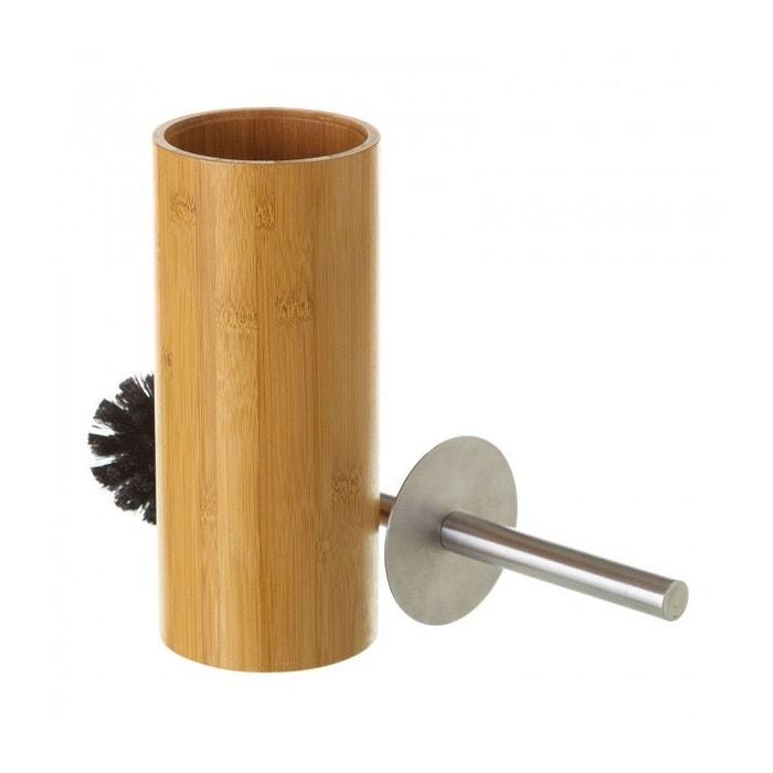 Brosse wc en bambou, inox et brosse noire rond bois Wadiga | La Redoute