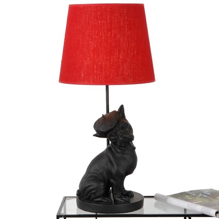 lampe chien et abat jour rouge couleur unique amadeus la redoute. Black Bedroom Furniture Sets. Home Design Ideas