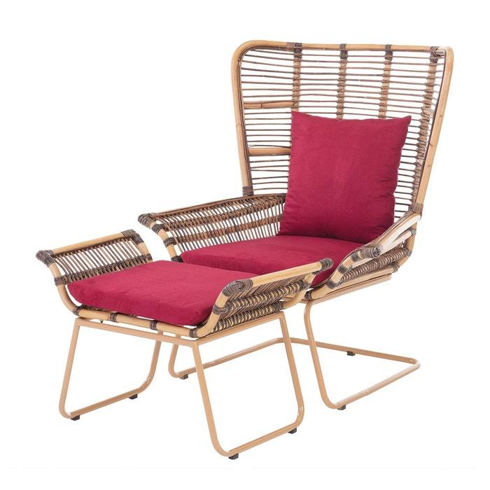 Fauteuil en rotin design avec repose pied alice marron miel rotin design la - La redoute fauteuil rotin ...