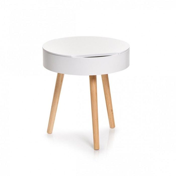 Table Basse Ronde Bois Avec Rangement Blanc Zeller Present La Redoute