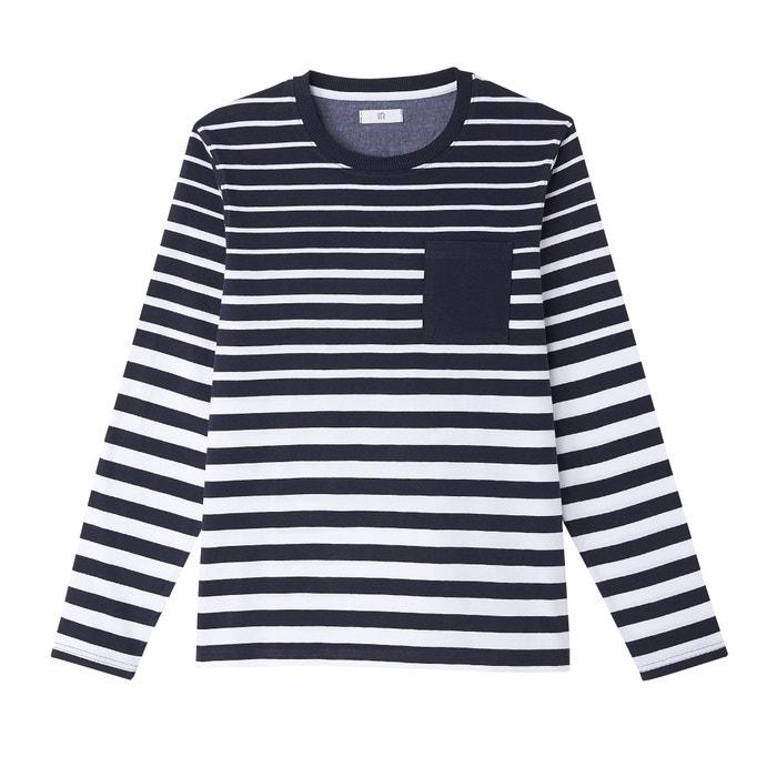 8ec27327215360 Long-sleeved crew neck breton stripe t-shirt blue LA REDOUTE COLLECTIONS