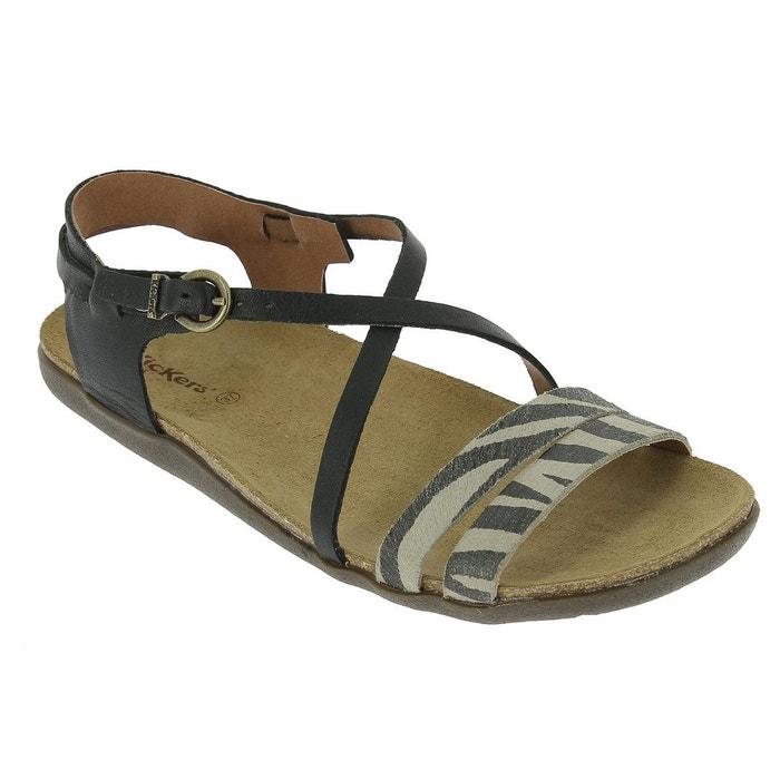 Sandales plates atomium, cuir vachette beige Kickers