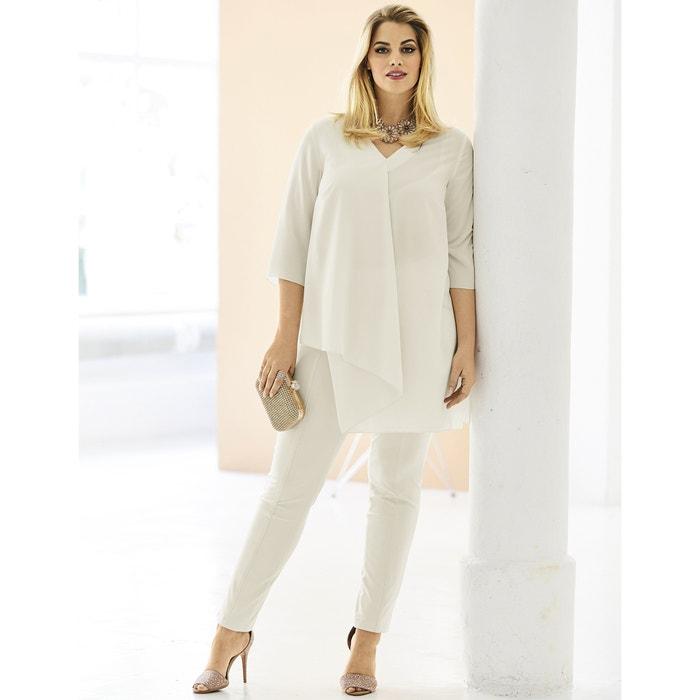 Plain Straight Cut V-Neck Tunic with 3/4 Length Sleeves  ULLA POPKEN image 0