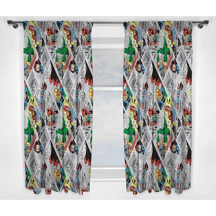 double rideaux avengers marvel comics retro 135 cm rouge. Black Bedroom Furniture Sets. Home Design Ideas