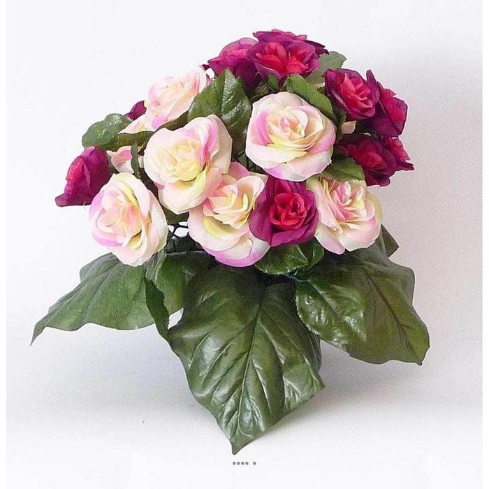 Composition vasque de roses lestee pour exterieur h 32 cm for Fushia exterieur