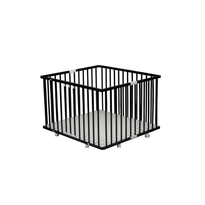 parc pliant carr gaby avec plancher r glable laqu noir combelle couleur unique combelle la. Black Bedroom Furniture Sets. Home Design Ideas