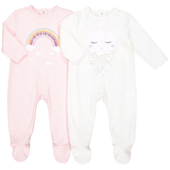 2dccbe954ee4b Lot de 2 pyjamas en coton 0 mois – 3 ans rose écru La Redoute Collections
