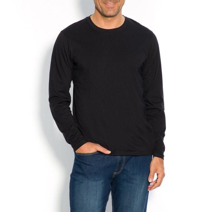 Image T-shirt z okrągłym dekoltem i długim rękawem, czysta bawełna CASTALUNA FOR MEN
