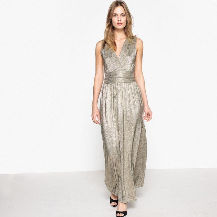 Robe longue brillante d collet e devant zipp e dor for Nettoyage de robe de mariage milwaukee