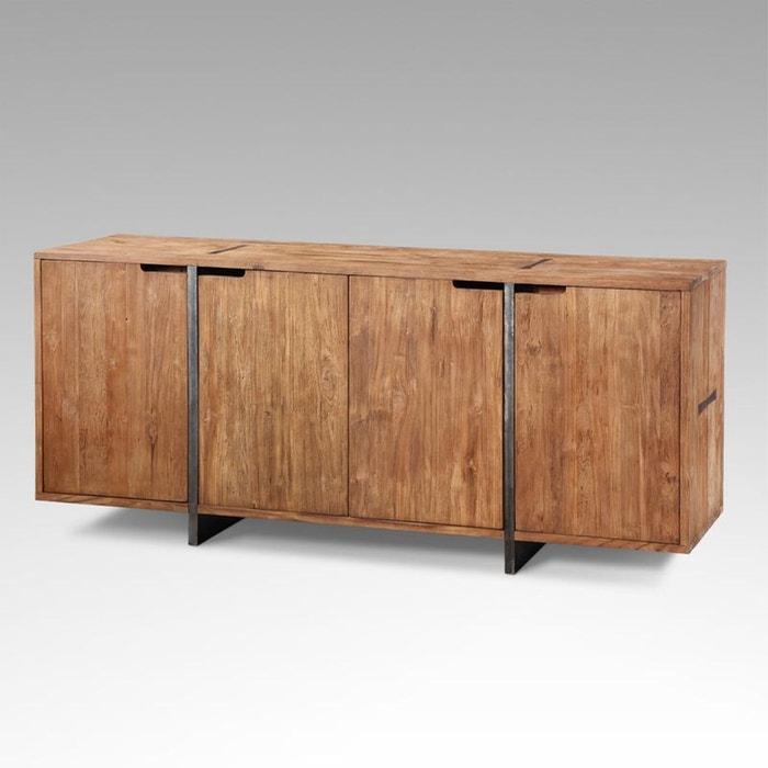 buffet teck et m tal industriel kha home design la redoute. Black Bedroom Furniture Sets. Home Design Ideas