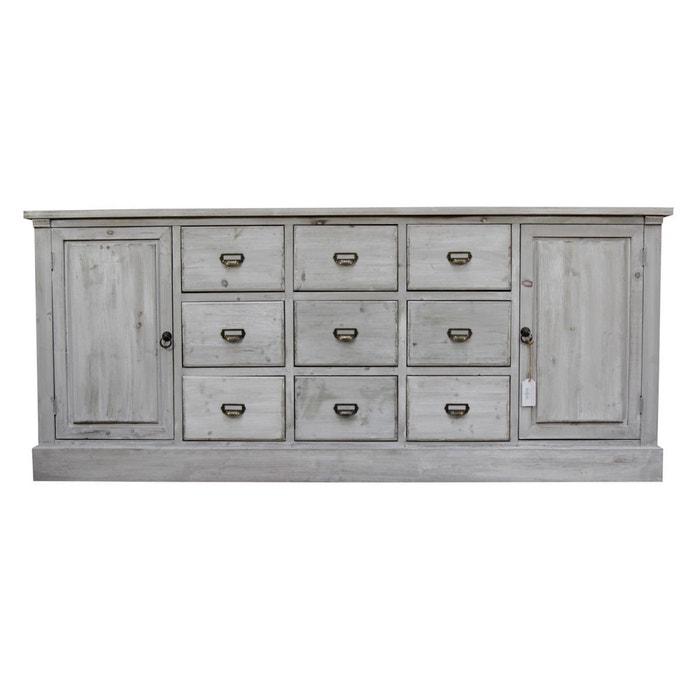 meuble semainier chiffonnier grainetier bois 9 tiroirs ceruse blanc 210x54x90cm decoration dautrefois image 0