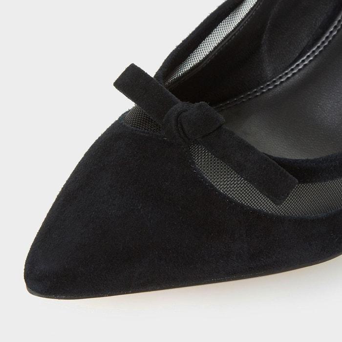 Escarpins à bout pointu et empiècement en maille - blume noir daim Dune London